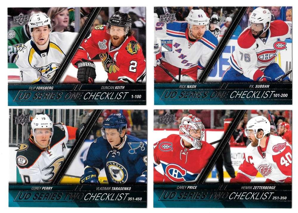 2015-16 Upper Deck (Base) Hockey - Checklist 4 card subsets