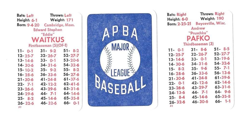 1948 APBA Season - CHICAGO CUBS Team Set