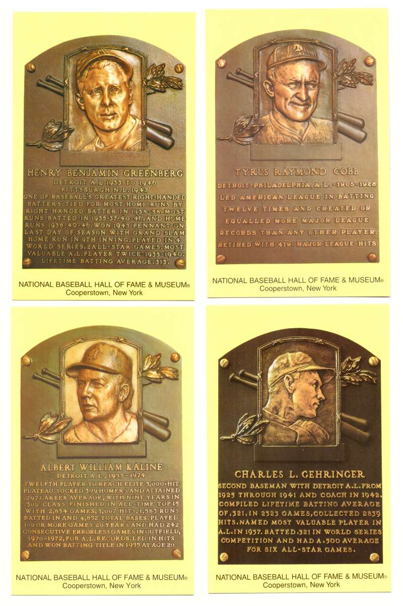 2005 Cooperstown Hall of Fame Plaque Postcards DETROIT TIGERS