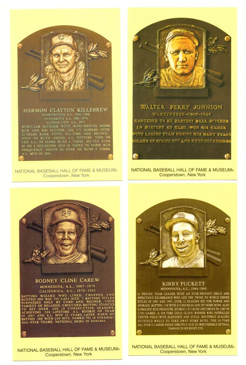 2005 Cooperstown Hall of Fame Plaque Postcards SENATORS / TWINS