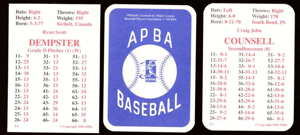1998 APBA Season (w/ EX Players 30 cards) - FLORIDA MARLINS Team Set