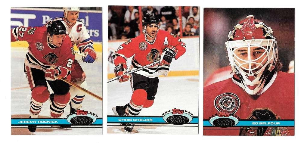 1991-92 Topps Stadium Club Hockey Team Set - Chicago Blackhawks