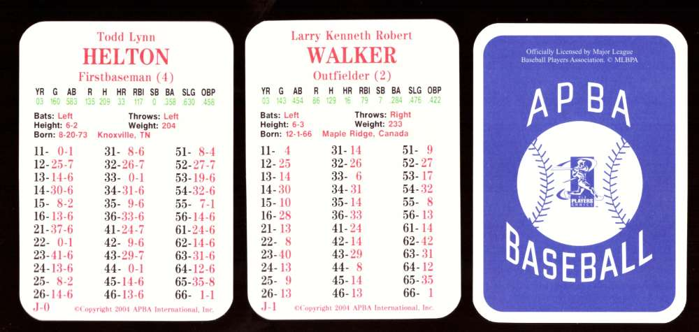 2003 APBA Season w/ XB - COLORADO ROCKIES 30 Card Team Set