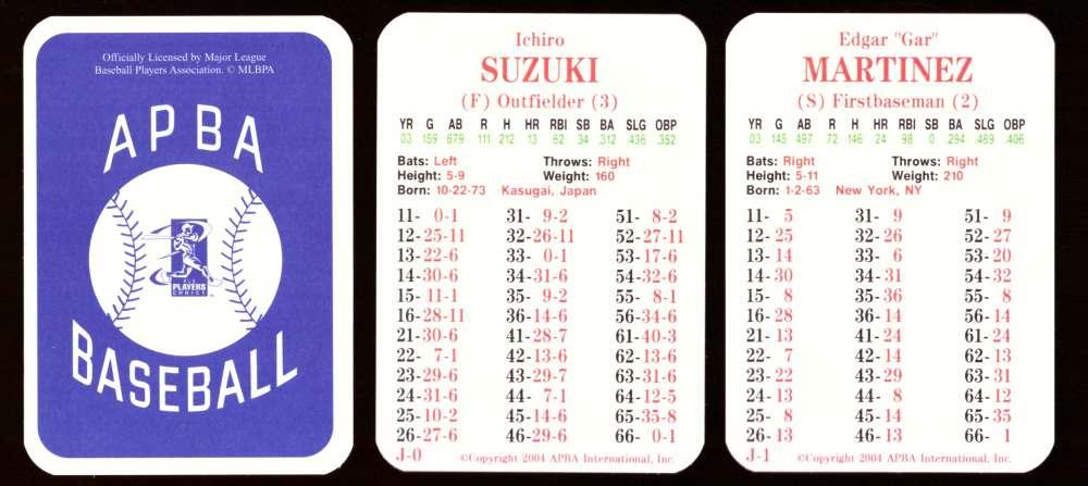 2003 APBA Season w/ XB - SEATTLE MARINERS 30 Card Team Set