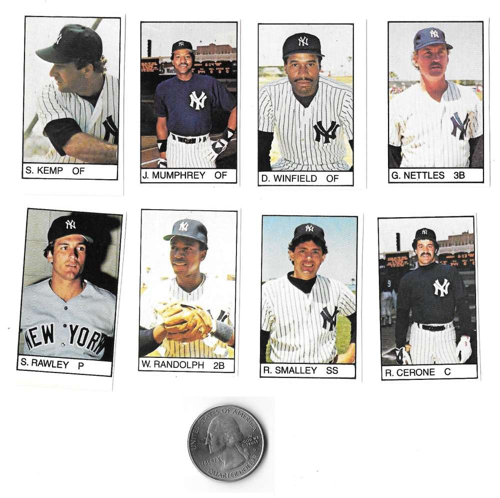 1983 All-Star Game Program Inserts NEW YORK YANKEES Team Set