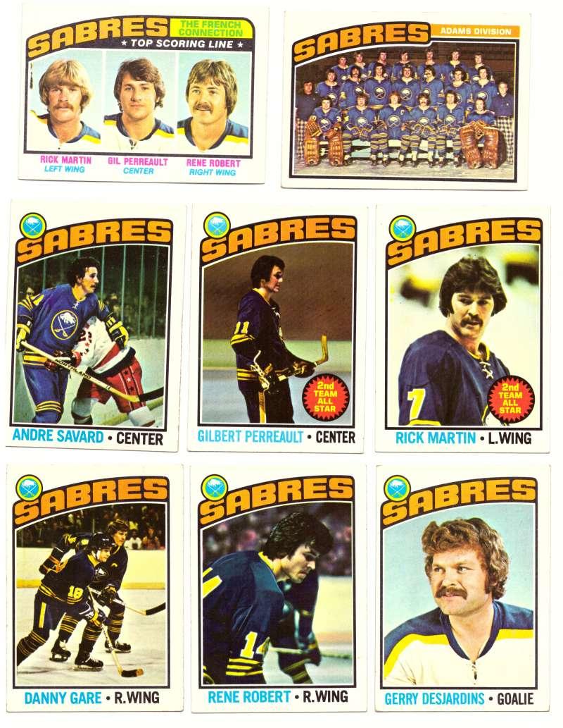 1976-77 Topps Hockey Team Set - Buffalo Sabres (Checklist marked)