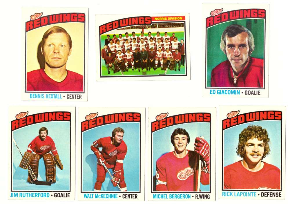 1976-77 Topps Hockey Team Set - Detroit Red Wings (Checklist marked)
