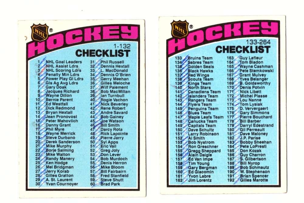 1976-77 Topps Hockey Team Set - Checklist both marked