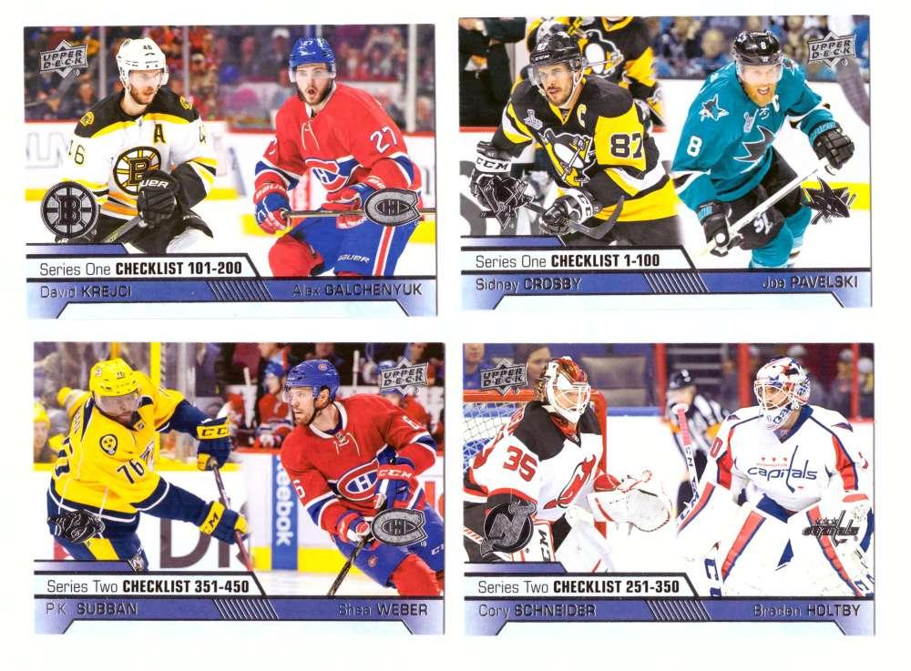 2016-17 Upper Deck (Base) Hockey - 4 card Checklist set