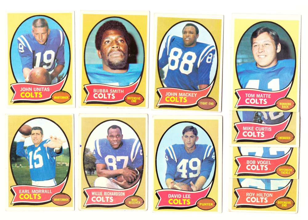 1970 Topps Football (VG Condition Read) Team Set - BALTIMORE COLTS