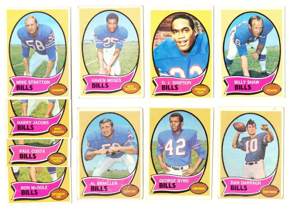 1970 Topps Football (VG Condition Read) Team Set - BUFFALO BILLS