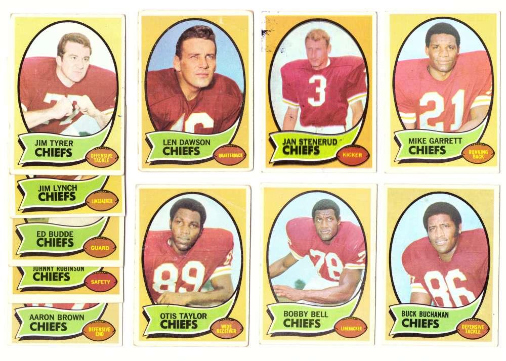 1970 Topps Football (VG Condition Read) Team Set - KANSAS CITY CHIEFS