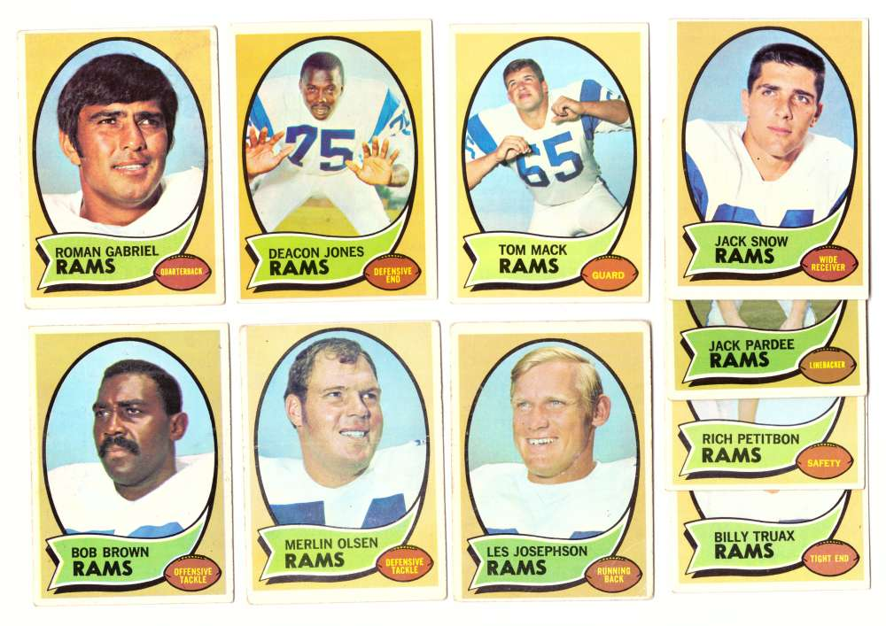 1970 Topps Football (VG Condition Read) Team Set - LOS ANGELES RAMS