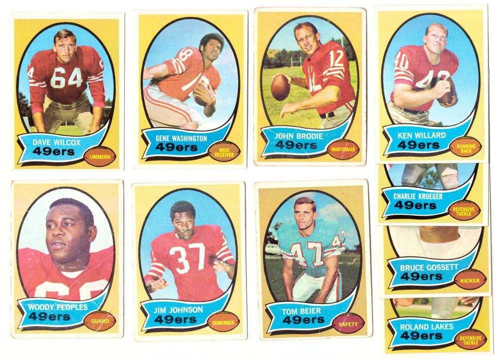 1970 Topps Football (VG Condition Read) Team Set - SAN FRANCISCO 49ERS