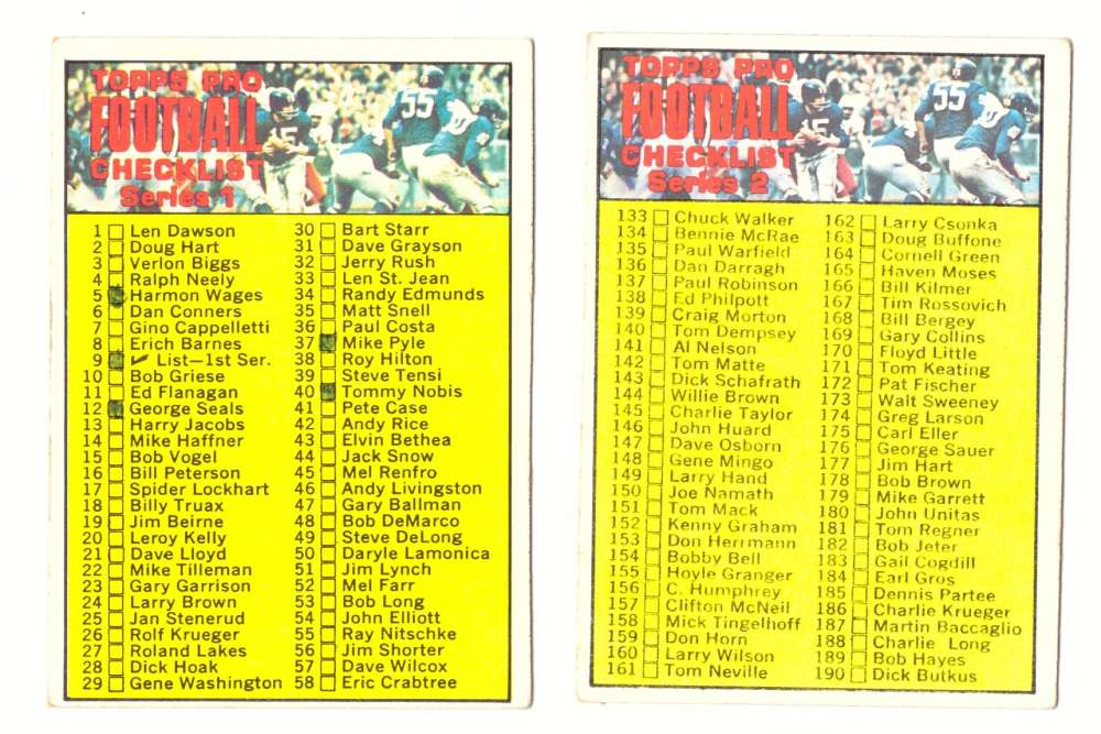 1970 Topps Football (VG Condition Read) - Checklist