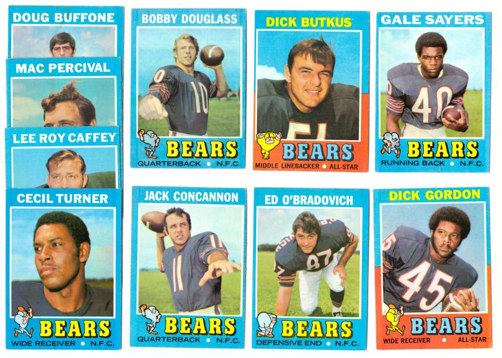 1971 Topps Football Team Set (EX Condition) - CHICAGO BEARS some water damage