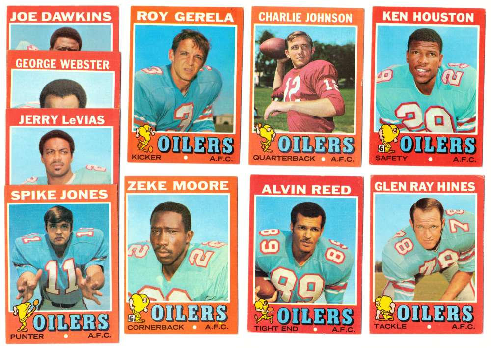 1971 Topps Football Team Set (EX Condition) - HOUSTON OILERS