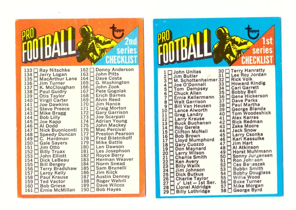 1971 Topps Football Team Set (EX Condition) - Checklists unmarked