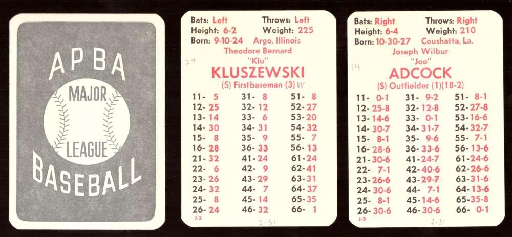 1950 APBA (reprint Written On) Season - CINCINNATI REDS Team Set