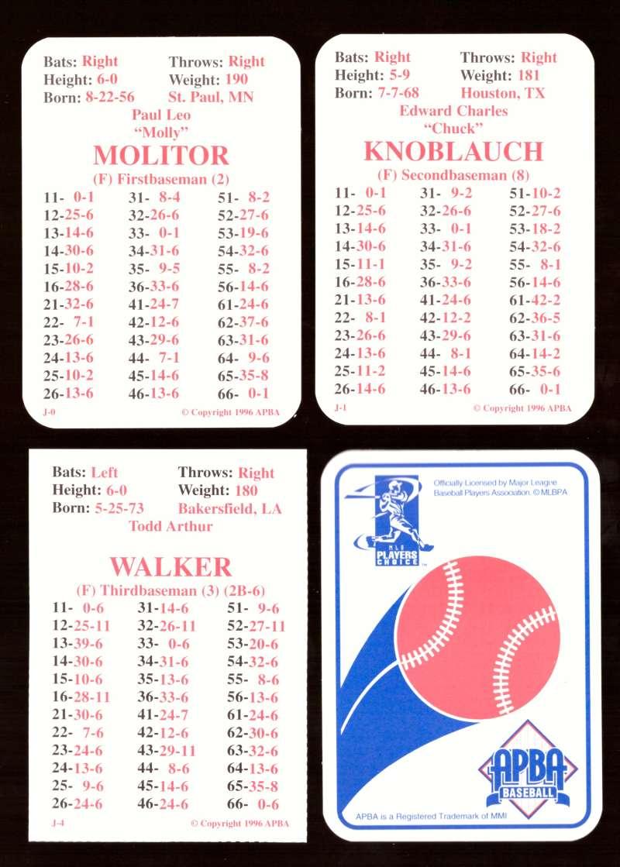 1996 APBA Season w/ EX Players - MINNESOTA TWINS Team Set