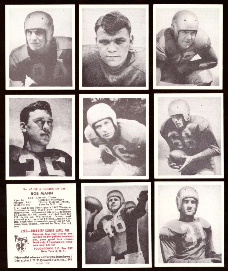 1948 Bowman Football Reprints Team Set - DETROIT LIONS