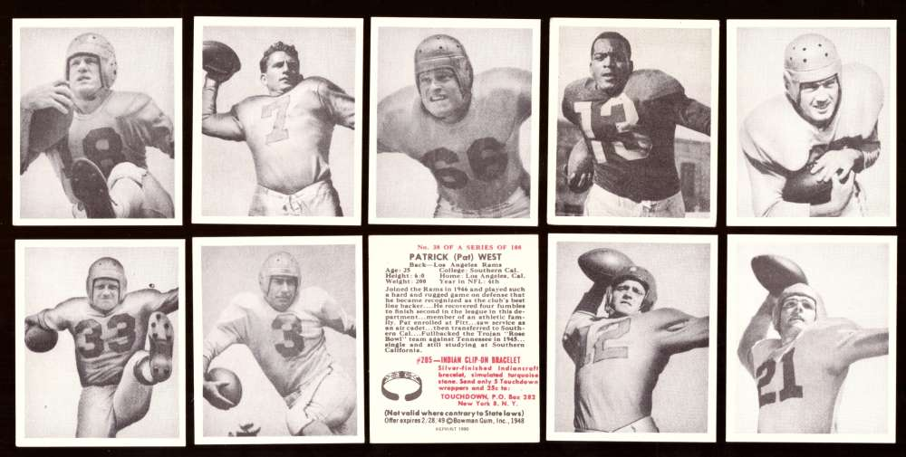 1948 Bowman Football Reprints Team Set - LOS ANGELES RAMS