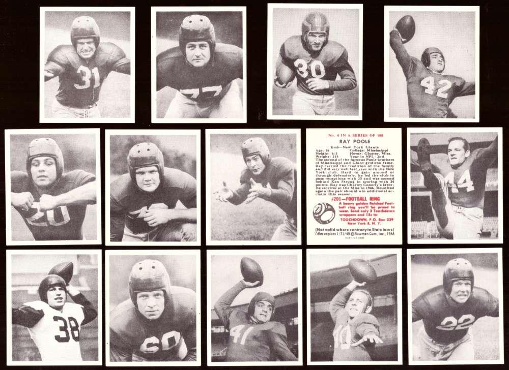 1948 Bowman Football Reprints Team Set - NEW YORK GIANTS
