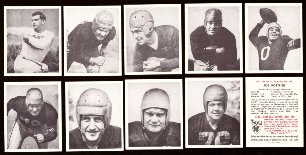 1948 Bowman Football Reprints Team Set - PITTSBURGH STEELERS