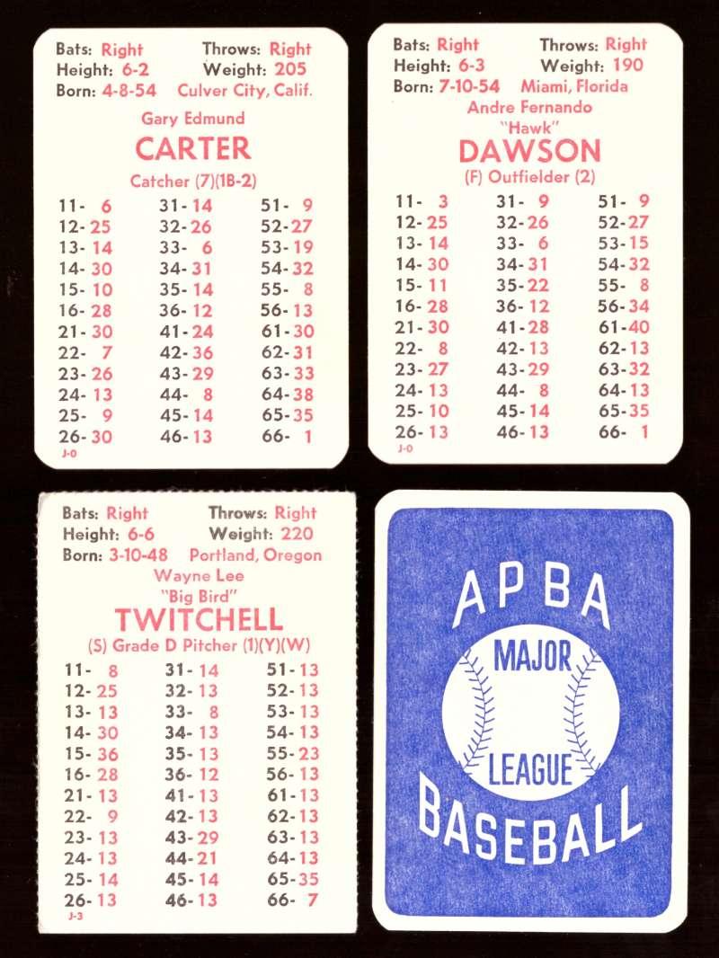 1978 APBA Season w/ EX Players - MONTREAL EXPOS Team Set