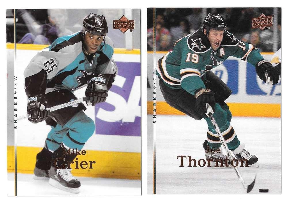 2007-08 Upper Deck (Base) Hockey Team Set - San Jose Sharks