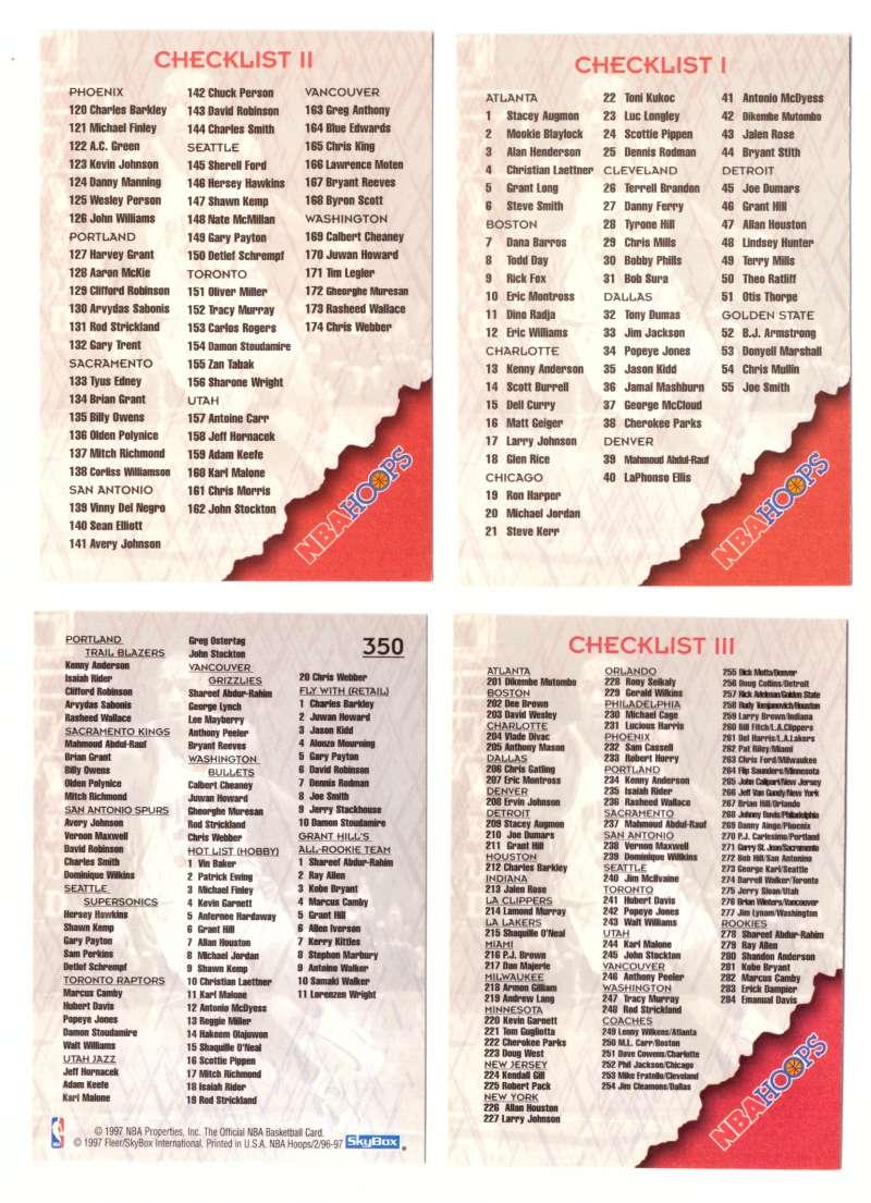 1996-97 Hoops 4 card Checklist set