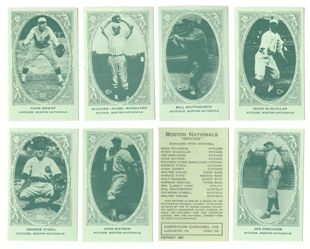 1922 American Caramel E120 Reprints - BOSTON BRAVES Team Set