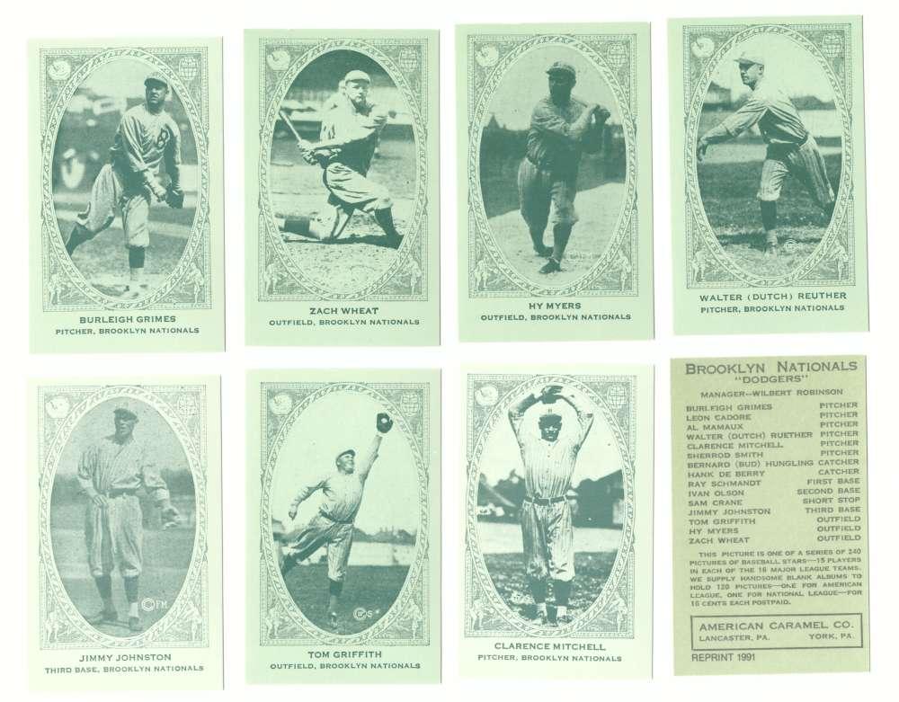 1922 American Caramel E120 Reprints - BROOKLYN DODGERS Team Set