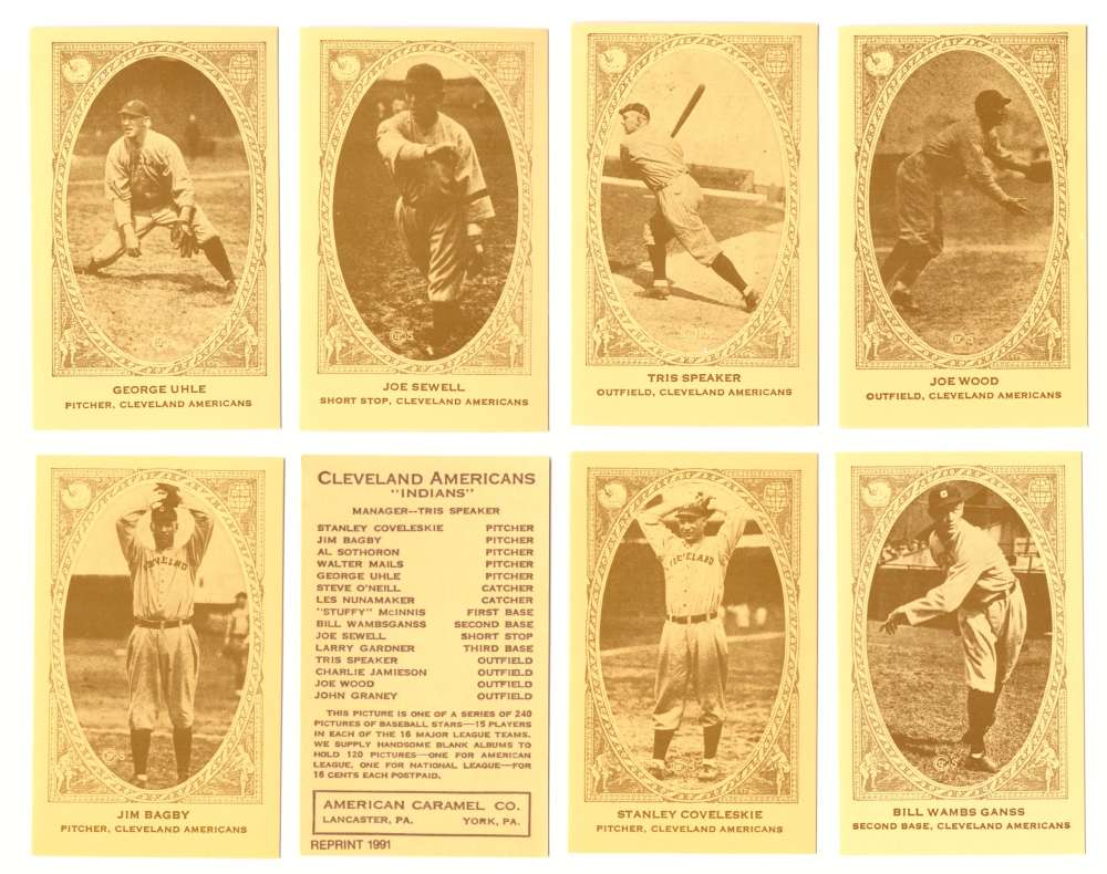 1922 American Caramel E120 Reprints - CLEVELAND INDIANS Team Set