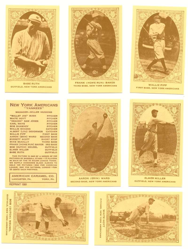 1922 American Caramel E120 Reprints - NEW YORK YANKEES Team Set