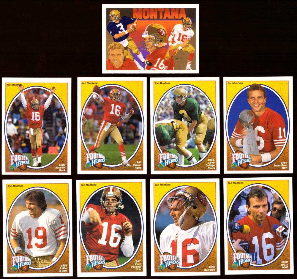 1991 Upper Deck Joe Montana Heroes 9 card set (San Francisco 49ers)