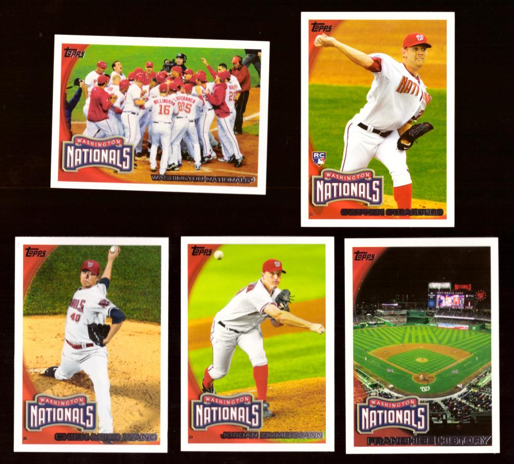 2010 TOPPS - WASHINGTON NATIONALS Team Set w/ 661 Stephen Strasburg From Factory Set