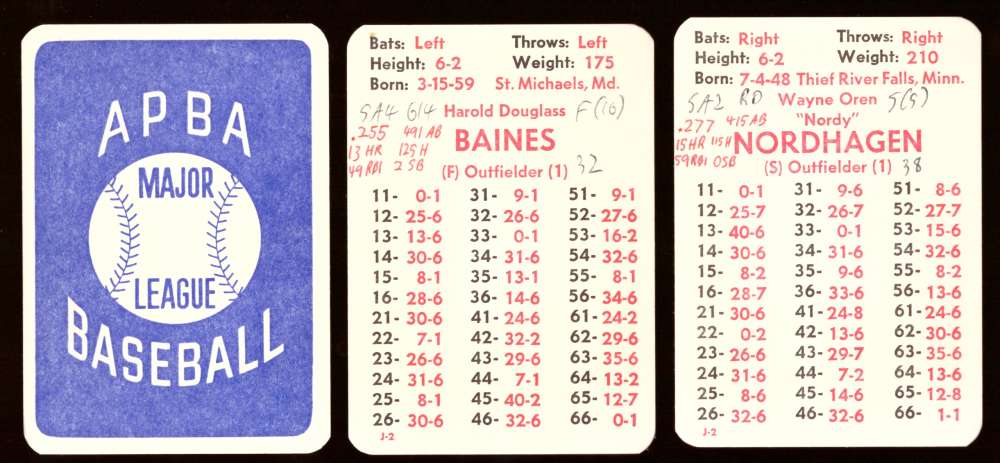 1980 APBA Season (Cards Written On) - CHICAGO WHITE SOX Team Set