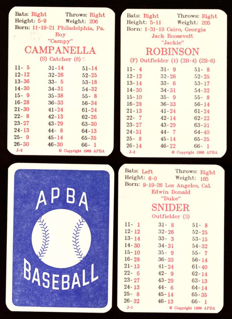 1954 APBA (Reprint) Season Written On - BROOKLYN DODGERS Team Set