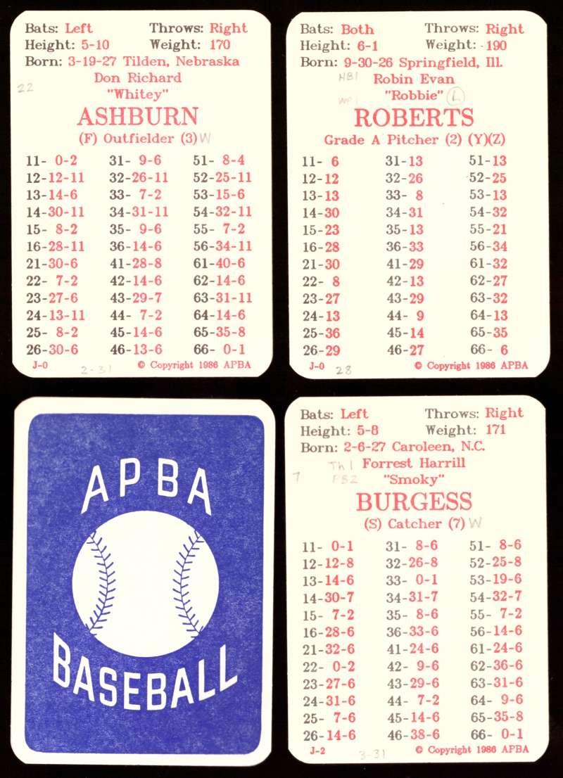 1954 APBA (Reprint) Season Written On - PHILADELPHIA PHILLIES Team Set