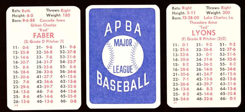 1927 APBA Season - CHICAGO WHITE SOX Team Set