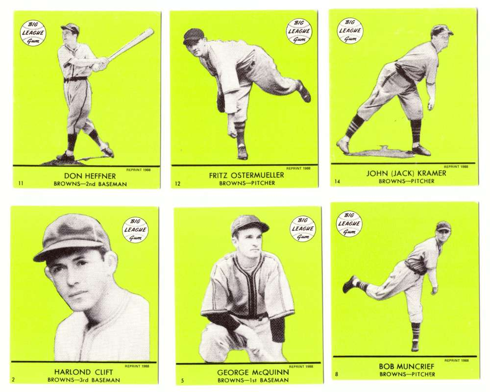 1941 Goudey (Green) Reprints - ST LOUIS BROWNS (ORIOLES) Team Set