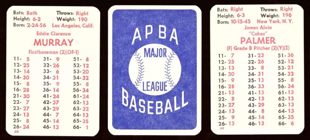 1977 APBA Season w/ Extra Players - BALTIMORE ORIOLES Team Set