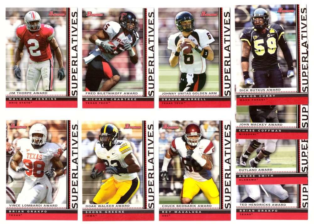 2009 Bowman Draft Football Superlatives 10 card insert set