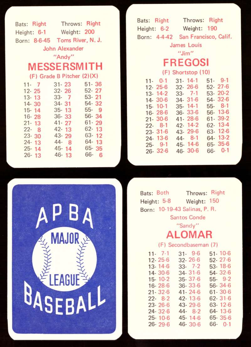 1969 APBA Original Season w/ XB - CALIFORNIA ANGELS Team set