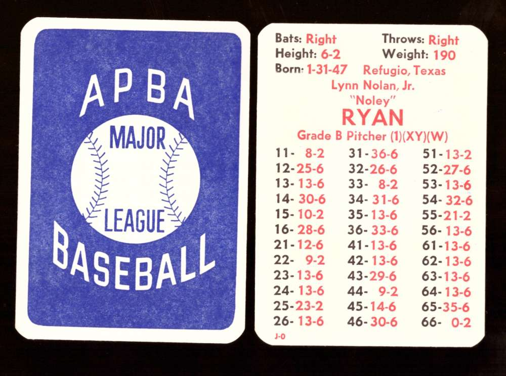 1974 APBA Original Season w/ XB - CALIFORNIA ANGELS Team set