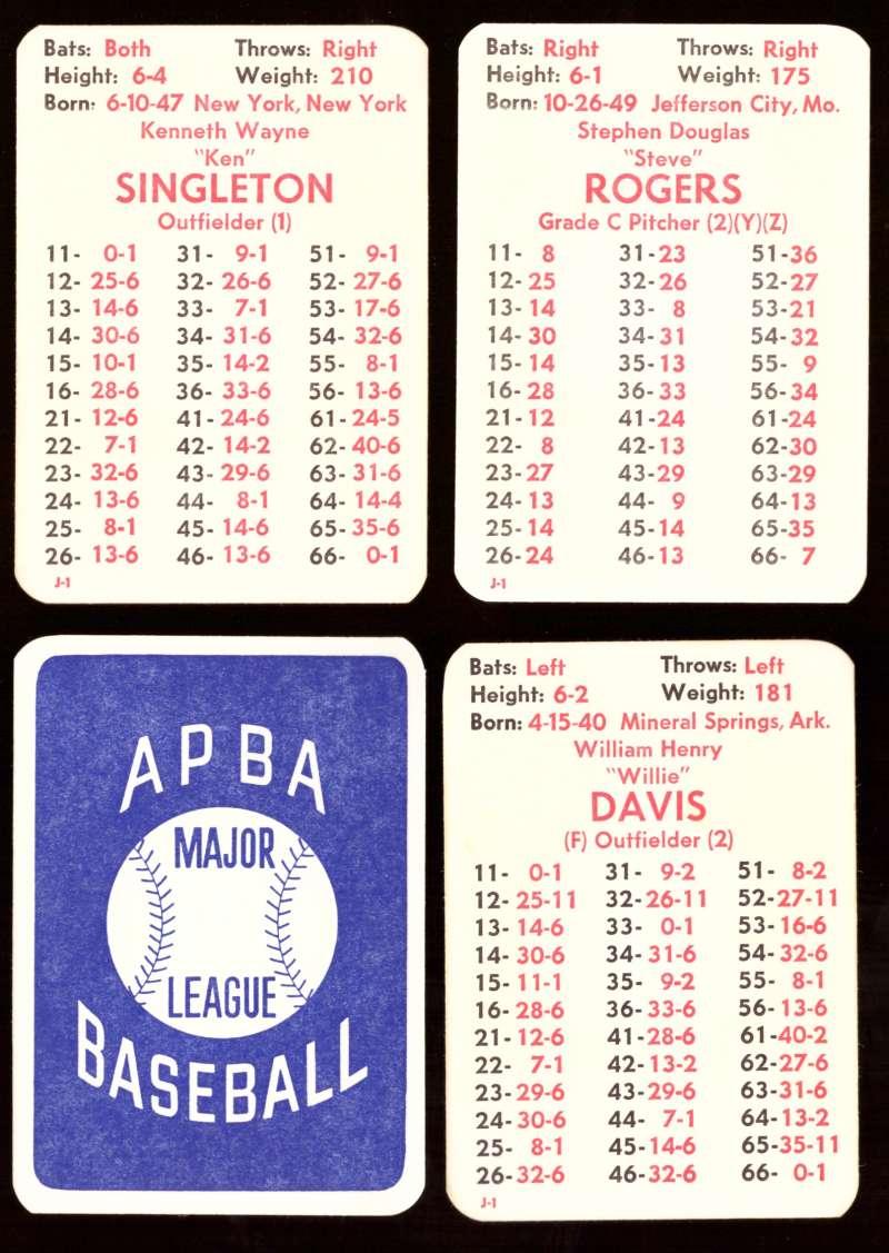 1974 APBA Original Season w/ XB - MONTREAL EXPOS Team Set