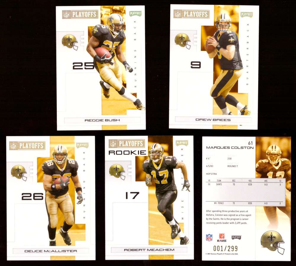 2007 Playoff NFL Gold Team Set (#ed 001/299) - NEW ORLEANS SAINTS