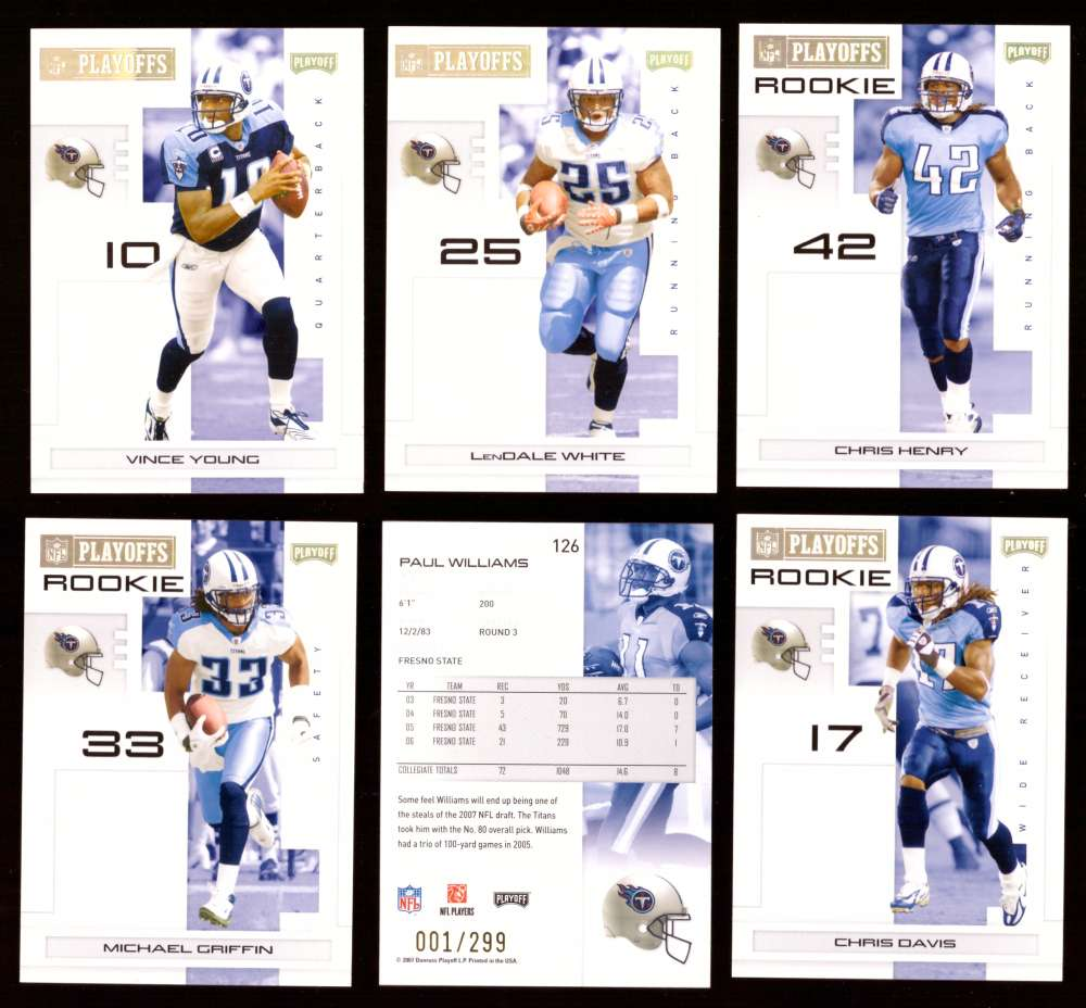 2007 Playoff NFL Gold Team Set (#ed 001/299) - TENNESSEE TITANS