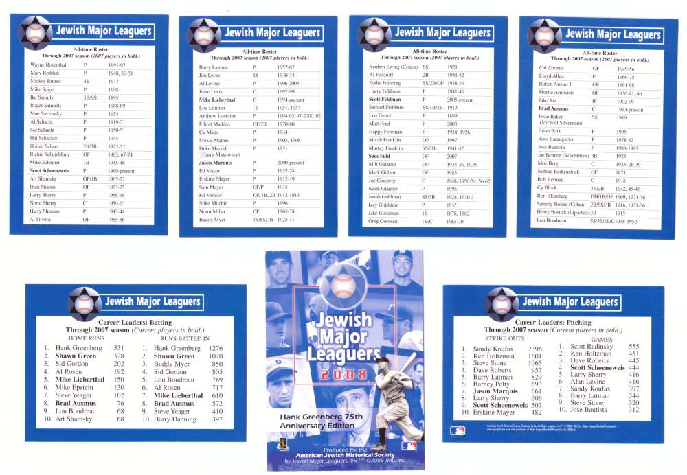 2008 Jewish Major Leaguers Roster and Leader Cards